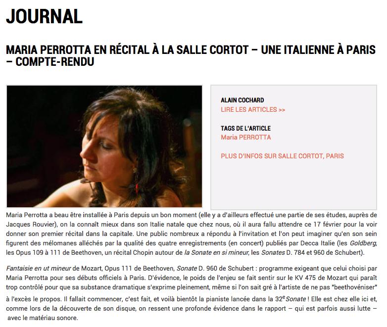 Maria Perrotta salle Cortot